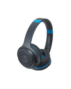 Audio-Technica ATH-S200BT Wireless on-Ear Headphones with Built-in Mic and Controls, Gray/ Blue