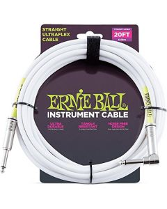 Ernie Ball Coil Cable Straight/Angle White Jacket P06047 20FT.